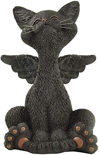 JFSM INC Bereavement Memorial Black Cat Angel Figurine with Angel Wings Cat Loss Sympathy Gift product image