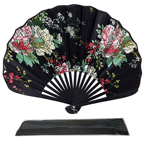 Ventilatori portatili pieghevoli, ventagli tenuti in mano Rangebow Ascot per donne Ragazze Ventilatore giapponese vintage in tessuto di seta retrò con un sacchetto in tessuto coordinato Danza del matrimonio Chiesa Regali per insegnanti (AS17)