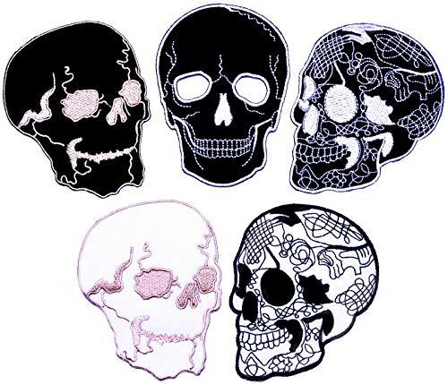 i-Patch - Patches - 0095 - Totenkopf - Schwarz - Live Free - Flicken - Aufnäher - Sticker - Badges - Flicken - Bügelbild - Aufbügler - Iron-on - Applikation - zum aufbügeln - Skelett - Patch - Skull
