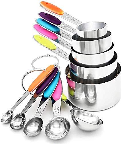 Juego de 10 tazas y cucharas medidoras 18/8 304 acero inoxidable de alta calidad sin BPA para hornear utensilios de cocina seguros con tabla de medición magnífica y 2 juntas tóricas