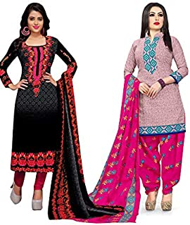 Rajnandini Women's Black and Pink Cotton Printed Unstitched Salwar Suit Material (Combo Of 2) (Free Size)