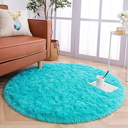 YJ.GWL Ultra Soft Round Fluffy Area Rugs for Girls Bedroom Anti-Slip Shaggy Nursery Rug Kids Room Carpets Cute Children Play Mat 4 Feet Blue