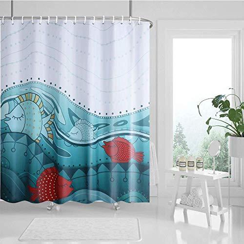 """Guiffly Duschvorhang, Wasserfeste Bad Vorhang aus Polyestergewebe mit 12 Haken, Duschvorhang Waschbar 72""""x72""""(180x180cm)"""