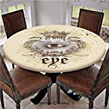 Elastic Edged Polyester Fitted Table Cover,Artistic Vintage Emblem Eye Victorian Laurel Branches Crown Calligraphy Decorative,Fits up 45'-56' Diameter Tables,The Ultimate Protection for Your Table,Lig