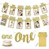 APERIL 1er Anniversaire Photo Bannière, Bébé 1-12 Mois Photo Bannière Guirlande, One bannière, One gâteau Topper pour décoration de Premier Anniversaire-Or
