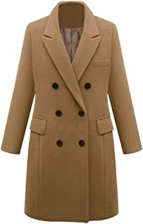 Dunacifa Women Peacoat Winter Outdoor Wool Blended Classic Double Breasted Pea Coats Jacket Overcoat