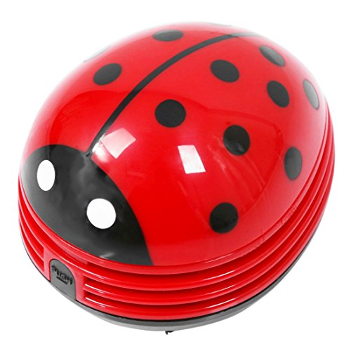 Fantastic Prices! Vaorwne Ladybug Patterned Battery-Operated Vacuum Table dust Cleaner, red
