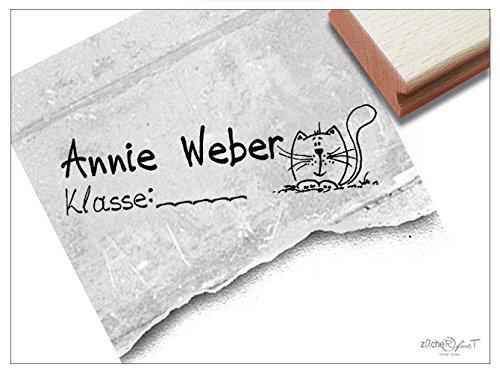 Stempel - Schulstempel MIETZE-KATZE mit Namen und Klasse Ihres Kindes - Klassenstempel/Namensstempel zur Kennzeichnung von Heften und Büchern - Individueller Kinderstempel von zAcheR-fineT