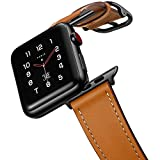 amBand Leather Band Compatible with Apple Watch SE Series 6 38mm 40mm 42mm 44mm, Genuine Leather Vintage Replacement Strap Classic Bands Buckle Compatible with iWatch 6/5/4/3/2/1 (Brown, 42mm/44mm)