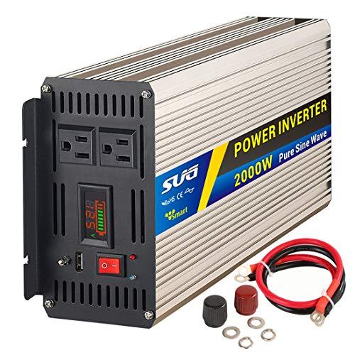 Sug 2000W(Peak 4000W) Power Inverter Pure Sine Wave DC 12V to AC 110V 120V Converter Back up Power Supply for RV, Home, Car Use, Solar System