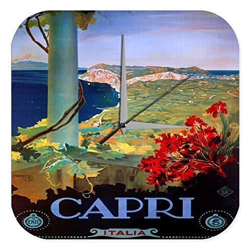 LEotiE SINCE 2004 Wanduhr mit geräuschlosem Uhrwerk Dekouhr Küchenuhr Baduhr Welt Reise Capri Wand Deko Uhr Vintage Retro