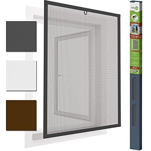 Insektenschutzfenster Alu Fliegengitter 100 x 120 cm proLINE grau