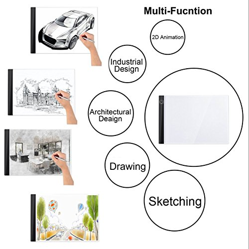 A4 LED Light Box Ultra-Thin Portable LED Pad USB Power ArtcraftTracing Light Box Light Table w 3 Level Brightness for Kids 2D Animation Drawing Artists Tattoo Transferring Sketching Embossing