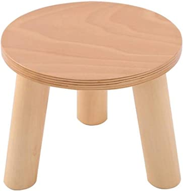 Carl Artbay Wooden Footstool Wood Color Three Legged Stool Round Shoe Shoes Household Solid Wood 3 Legged Stool Home