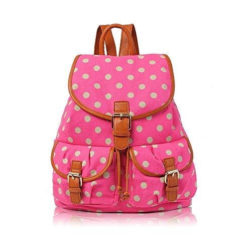 HB Style Girls-London, motivo: farfalla Vintage, motivo gufo-Zaino in tela con borsa da palestra College-Borsa a tracolla Casual, Nero (Polka Dot Fuschia),