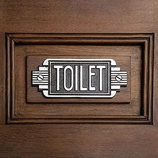 Design Toscano Streamlined Art Deco Toilet Door Sign, 6 Inch, Two Tone Black & Silver