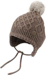 WeddingPach Baby Knit Warm Earflap Hat Girls Boys Winter Crochet Hood Caps 0-2T