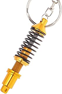 Loriver 2PCS Refit Spring Shock Absorber Tuning Auto Car Parts Key Chain Keychain Keyrin (Gold)