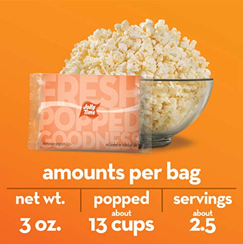 JOLLY TIME Healthy Pop Microwave Popcorn, Low Fat Gluten Free Non-GMO, 4 Pack 3 Count Boxes (Healthy Pop - Kettle Corn)