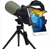 Gosky 20-60x60 Spotting Scope for Target Shooting Bird Watching Wildlife Scenery - New BAK4 Angled Scope with Tripod, Carrying Bag and Smartphone Adapter