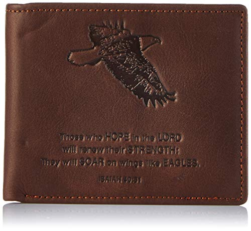 Christian Art Gifts Genuine Leather Wallet for Men | Wings Like Eagles – Isaiah 40:31 Bible Verse | Quality Classic Brown Leather Bifold Wallet | Christian Gifts for Men