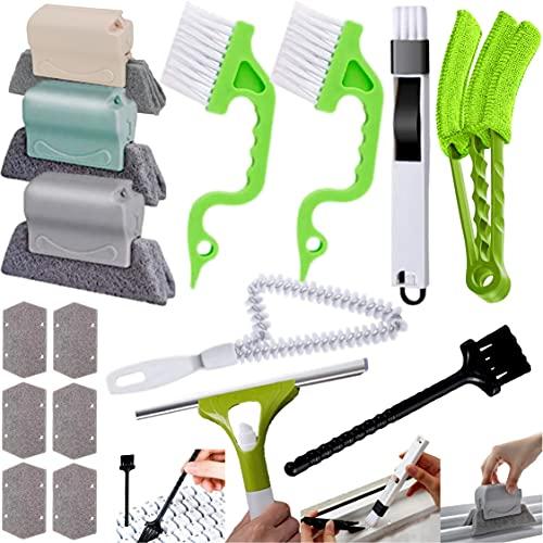 J&K Ink Window Cleaning Brushes, Window Track Cleaner Tools, Window Sill Cleaner Brush Set to Clean Window Gaps, Corners, Blinds, and Sliding Door Tracks 13 Pcs