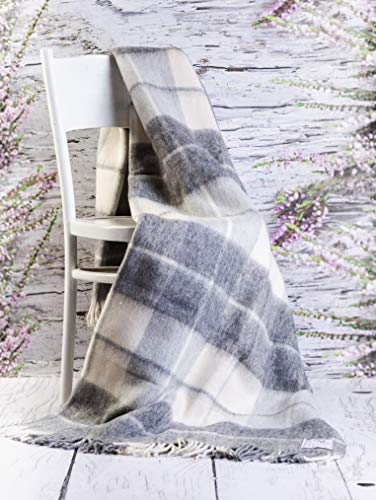 Merino Wool Bedding Wolldecke Tagesdecke 160 x 200 cm, kariert, Doppelbettgröße, luxuriös, warm, Schottenkaro, Sofaüberwurf