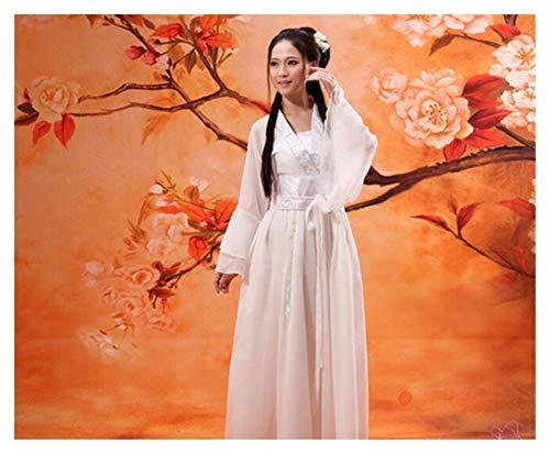 DEALBUHK Disfraz de hada Tang multicolor para disfraz de Hanfu Guzheng, vestido de chifn para mostrar la belleza de lo clsico (color: blanco, talla: M)