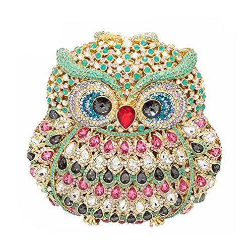 A+TTXH+L Bolso Noche Mujer Búho Mujeres Diamante Noche Embrague Bolsa de Embrague Cristales embrujos Bolsos de Bodas Damas huele Bolsos (Color : A, Size : 1)
