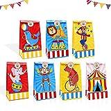 24 bolsas de caramelos con pegatinas de agradecimiento, bolsas de regalo de carnaval para regalo de circo feliz cumpleaños Baby Shower decoración, el mejor showman temática suministros de fiesta