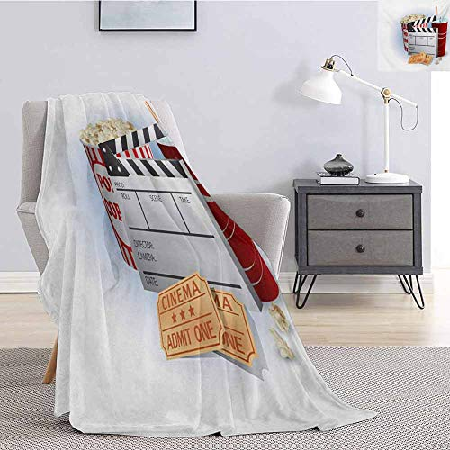 Luoiaax Movie Theater Bedding Fleece Blanket Queen Size Soda Tickets Fresh...