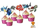 48 pcs Finding Nemo Cake Toppers for Kids Birthday Party Cake Decoration Supplies