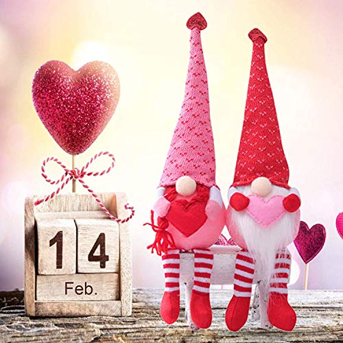 Valentines Day Gnome Gonk Decorations Mr. and Mrs. Handmade Plush Doll Scandinavian Tomte for Valentine's Day Novelty Table Ornament, 2 Pcs