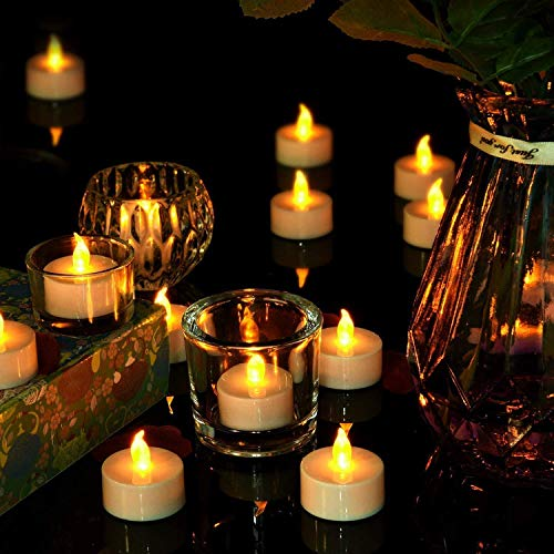 Flameless Tealight Candles - 12pcs Electric Fake Candle Battery Operated LED Tea Lights Ideal for Proposal, Wedding, Seasonal and Festival Celebration