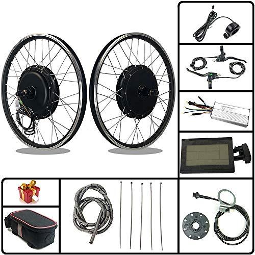 "RICETOO Kit de conversión de Bicicleta eléctrica 48V 1500W 20""24"" 26""27.5"" 28""29''700C Rueda Trasera de Cassette E-Bike Ciclismo Hub Motor con Pantalla KT-LCD3 (48V 1500W 20inch)"