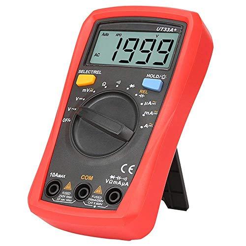 ZGQA-GQA Mini multímetro digital AC DC voltímetro amperímetro 2000 cuentas medidor de prueba de batería multiprobador y resistencia Ohm Tester