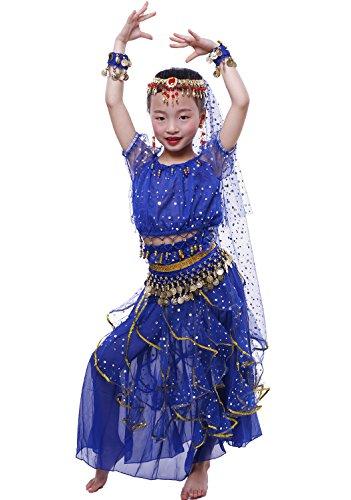 Astage Ragazza Manica Corta Danza del Ventre Carnevale Costume alle Ornamenti L Blu Reale