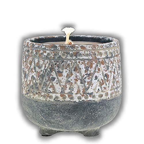 Der Perlenspieler® - Shabby Kerzenschmelzer im Landhausstil-Grau Gemustert in Antik-Look-In- und Outdoor-3 mm Glasfaserdocht-10 cm x 10 cm