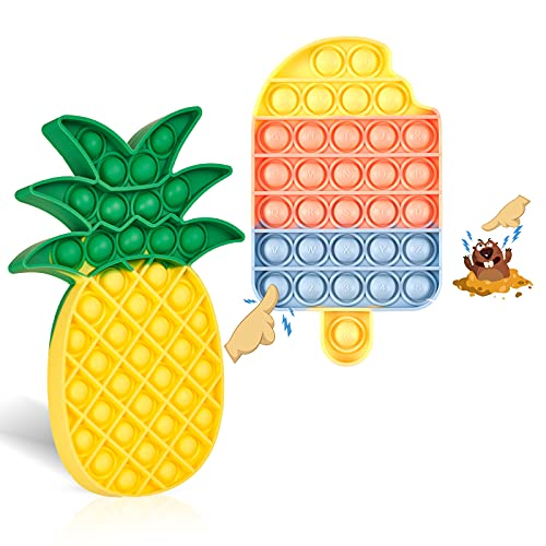 Pop Fidget Toys Its Pack Poppet Push Popping Bubble Rainbow Sensory Toy for Kids and Adults Silicone Fidget Poppers Game for Girls Special Needs Stress Relief Anti-Anxiety (Pineapple Icecream)