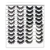 Leipple False Eyelashes 20 Pairs - Professional Reusable 3D Mink Lashes - Natural Thick Fluffy Fake Eyelashes Faux Mink Eyelashes