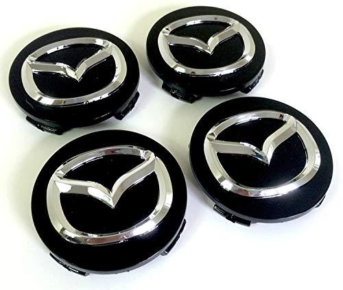 Juego De 4 Tapas De Buje Central Para Llantas De AleacióN Mazda, Cubierta De 56 Mm, Placa De Cromado Negro Mazda2 Mazda3 Mazda5 Mazda6 Mazda8 Cx-3 Cx-5 Cx-9 Mx-5 Rx-8 Y Otros Modelos