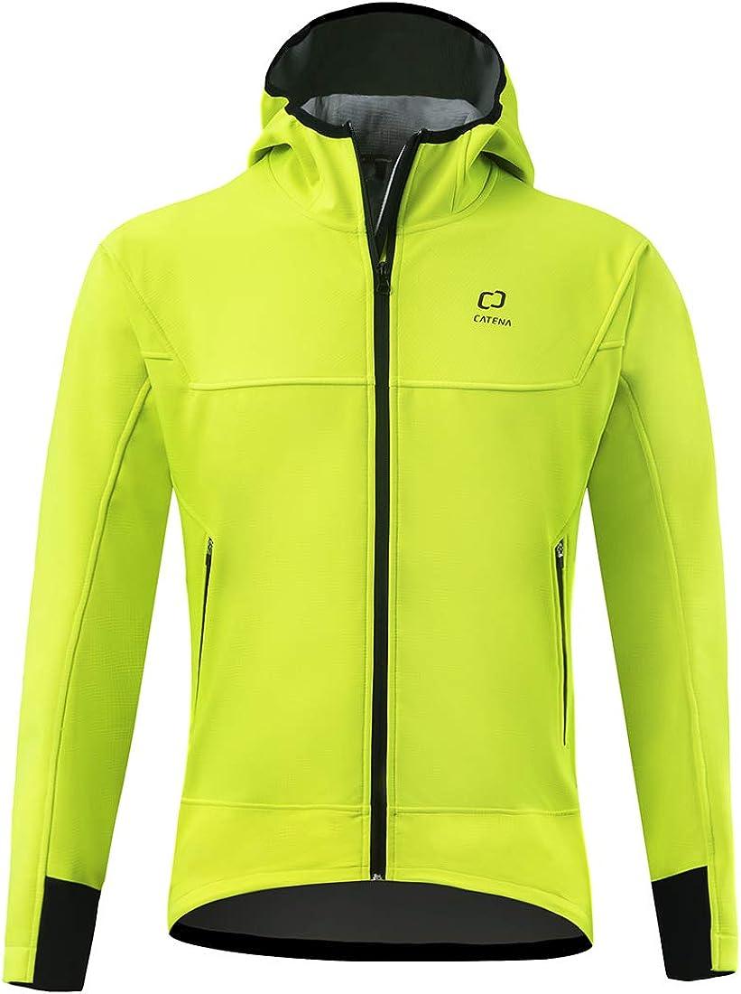 CATENA Men's Windproof Jacket Waterproof Breathable Hoodie Fleece Softshell Coat for Outdoors Running Cycling Hiking