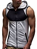 LEIF NELSON Men's Training Vest with Hood Bodybuilder T-Shirt Shortsleeve Hoodie Slim Fit LN06222; Medium, Khaki