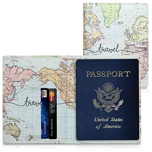 kwmobile Porta passaporto in pelle sintetica - Scomparti carte foderina per passaporto in similpelle - Custodia porta documento - nero/multicolore Mappa del mondo