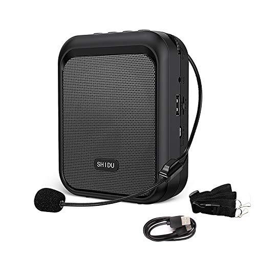 Amplificatore vocale SHIDU Altoparlante Bluetooth portatile ricaricabile con microfono cablato Cuffie 10W 1800mAh Sistema PA Supporta audio in formato MP3 per insegnanti, canto,allenatori, formazione