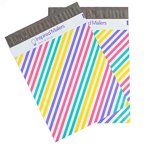 Inspired Mailers - Poly Mailers 10x13-100 Pack - Pastel Stripes - Mailing Bags - Cute Bags for Packaging - Shirt Packaging Bags - Packing Envelopes for Shipping