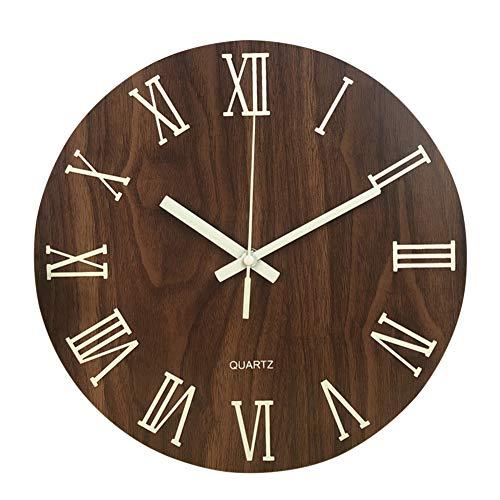 HAIMEN Holz Nachtlicht Wanduhr - Leuchtende Uhr Römische Ziffern leuchten im Dunkeln, ohne zu Ticken Home Decor