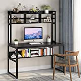 Tribesigns Computer Desk with Hutch, 47 inch Office Desk Study Writing Workstation with Under-top Storage Shelf for Home Office Use (Black)