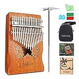 NASUM Kalimba Piano à Pouce 17 Clés Percussion avec Accordeur Autocollant Livre Musical Sac de Transport, pour Instrument Enfant Mbira Sanza Africain Cadeau Musical (Bois Clair)