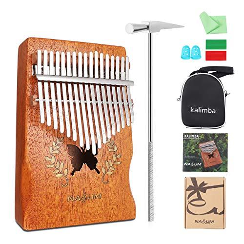 NASUM Daumenklavier Kalimba, Schmetterlingsform Karimba Instrument, 17 Schlüssel solid Finger Klavier, Akazienholz, mit Stimmwerkzeug, Musikinstrument Geschenk mit Tragetasche, Silikon-Fingerhülle